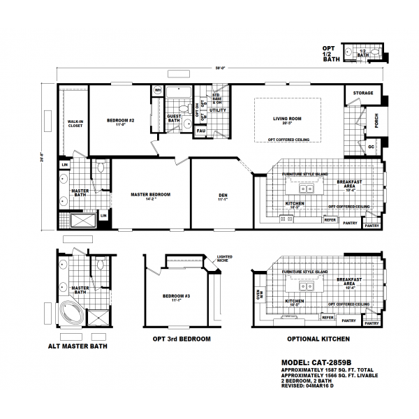Durango Model CAT-2859B Manufactured Home Floor Plan