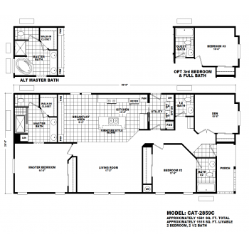 Durango Model CAT-2859C Manufactured Home Floor Plan
