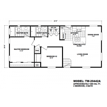 Durango Model TW-20442A Manufactured Home Floor Plan