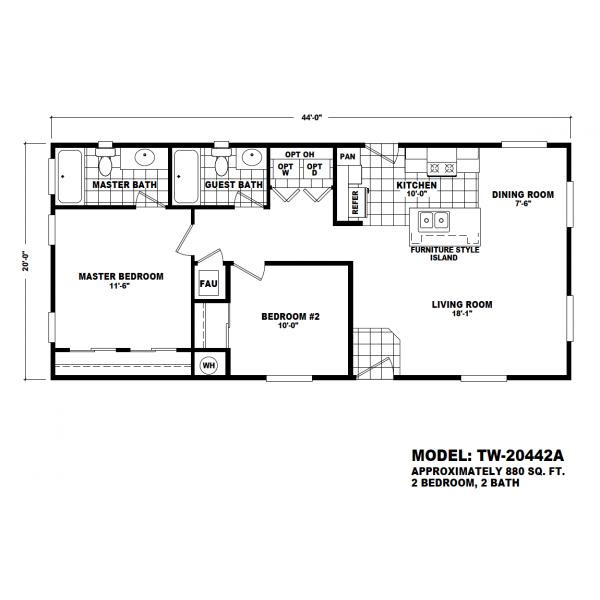 Durango Model TW-20442A Manufactured Home Floor Plan