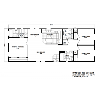 Durango Model TW-20523B Manufactured Home Floor Plan