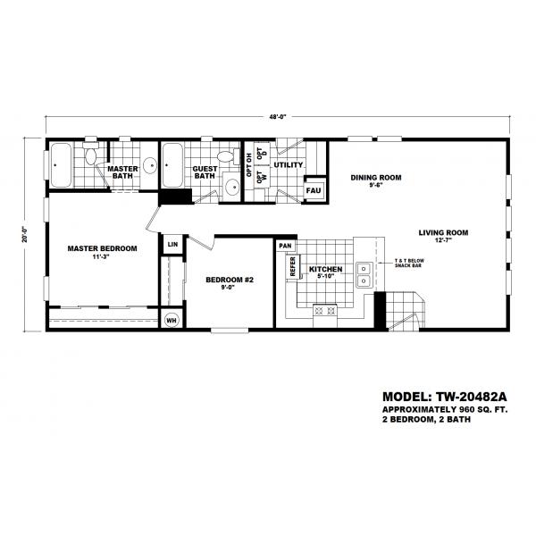 Durango Model TW-204482A Manufactured Home Floor Plan