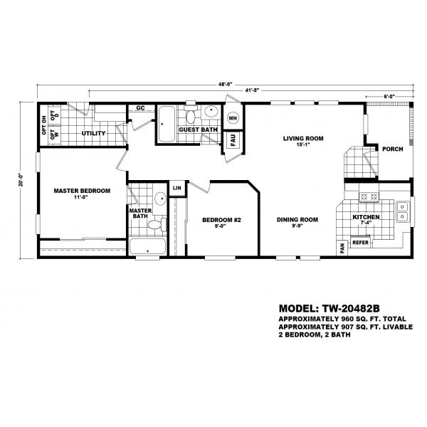 Durango Model TW-20482B Manufactured Home Floor Plan