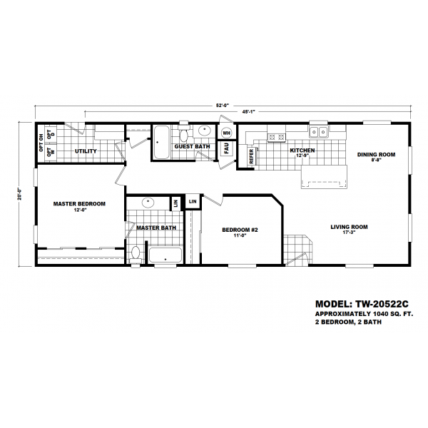 Durango Model TW-20522C Manufactured Home Floor Plan