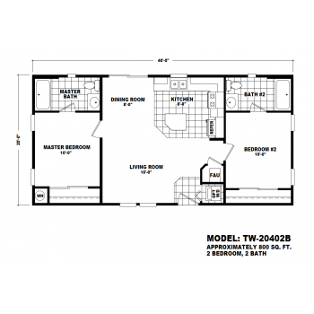 Durango Model TW-20402B Manufactured Home Floor Plan
