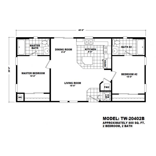 Durango Model TW-20402B Manufactured Home Floor Plan