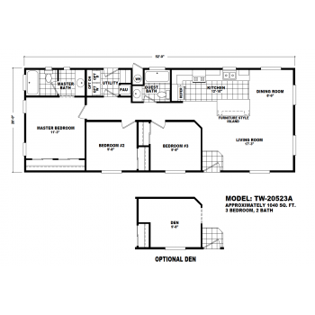 Durango Model TW-20523A Manufactured Home Floor Plan