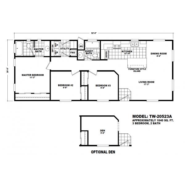 Durango Model TW-20523A Manufactured Home Floor Plan