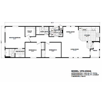 Durango Model VPH-2060A Manufactured Home Floor Plan