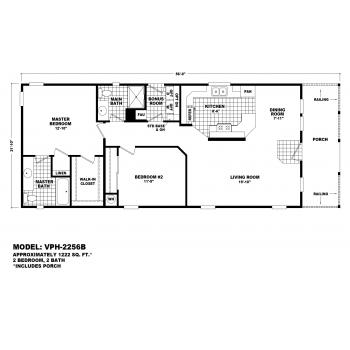 Durango Model VPH-2256B  Manufactured Home Floor Plan
