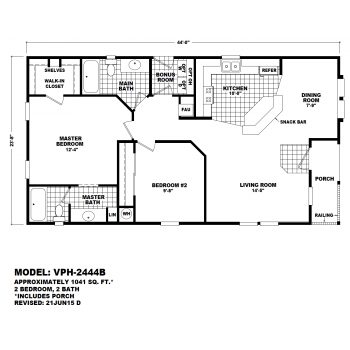 Durango Model VPH-2444B  Manufactured Home Floor Plan