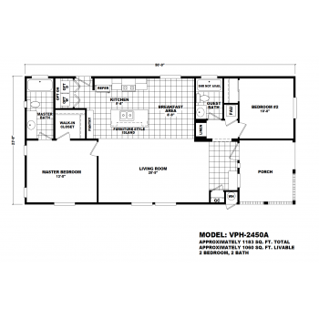 Durango Model VPH-2450A  Manufactured Home Floor Plan
