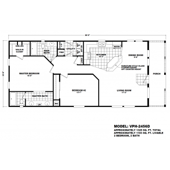 Durango Model VPH-2456D  Manufactured Home Floor Plan