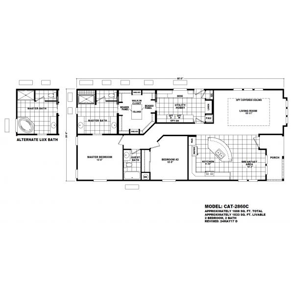 Durango Model CAT-2860C Manufactured Home Floor Plan