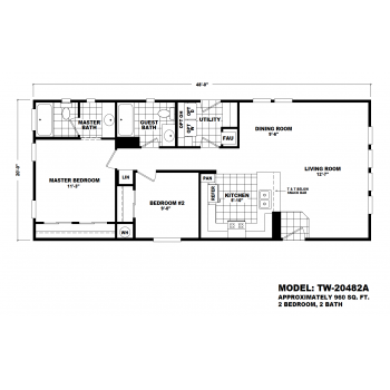 Durango Model TW-204482A Manufactured Home Floor Plan