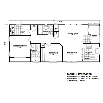 Durango Model TW-20482B Manufactured Home Floor Plan