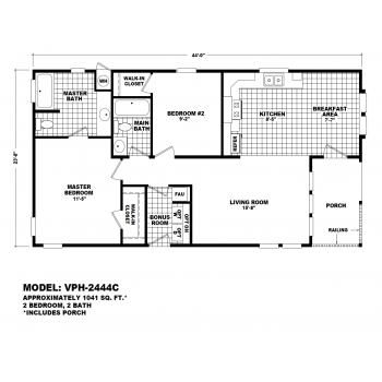 Durango Model VPH-2444C  Manufactured Home Floor Plan