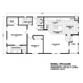 Durango Model VPH-2446B  Manufactured Home Floor Plan
